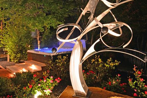 State-of-the-Art Hot Tub Spa and Mac Worthington Sculpture