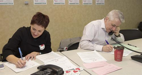 Terri and David compete for the most pledges at the Foundation's 3rd Annual Love Your Hospital Radiothon on 12-Feb