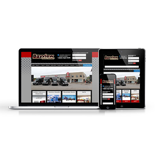 Responsive website redesign for Bayview Trucks & Equipment.