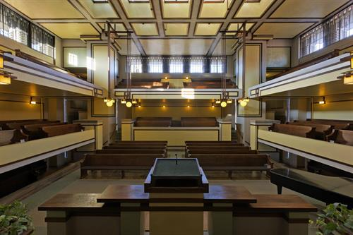 Sanctuary, Unity Temple (1905-08), Oak Park, Illinois