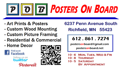 Posters On Board's Services, Hours & Contact Information.