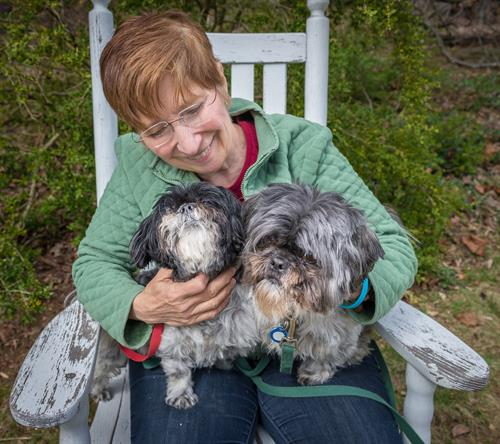 Owner Clare Siska with her Shih-Tzus, Peanut & Oz