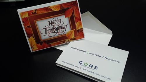 Holiday Season is right around the corner. At Core Print Solutions we can customize your Holiday cards and let your customers know you care. Call us at 956.631.9393 or email us at print@cbs-tx.com