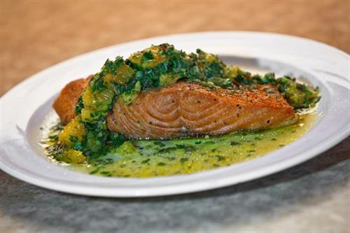 Salmon Filet with Green Citrus Salsa