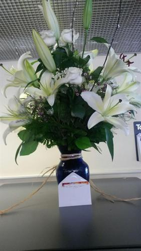 Flowers sent to The Jaffrey branch from one of our customers who was Thanking us for our outstanding cutomer service.