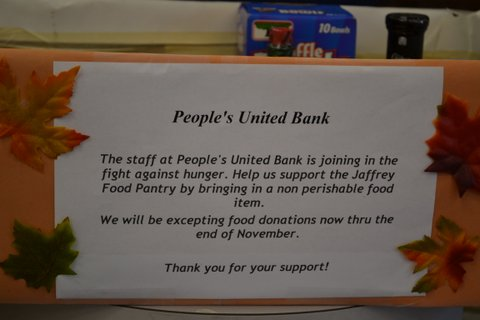 2013 Food donations collected for the Jaffrey Food Pantry