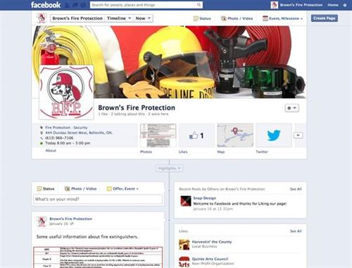 Brown's Fire Protection Social Media - setup, implementation, weekly updates