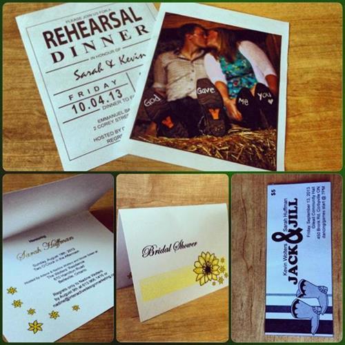Bridal Shower Invitations, Rehearsal Dinner Invitations, Jack & Jill Tickets - design, printing