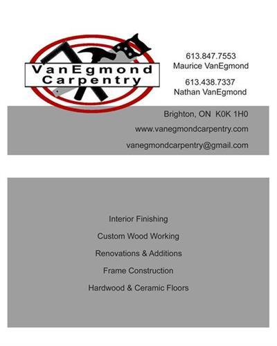 VanEgmond Carpentry Business Cards - design, printing