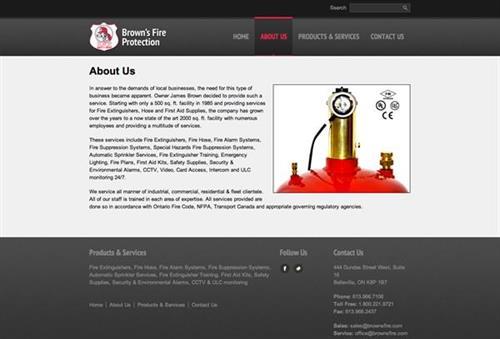 Brown's Fire Protection Website - design, development, hosting