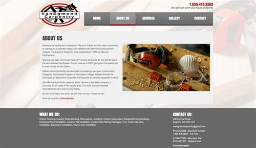 VanEgmond Carpentry Website - design, development, hosting