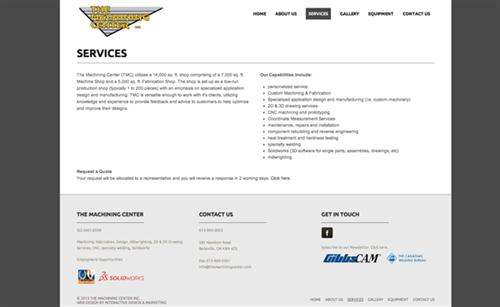 The Machining Center Website - design, development, hosting