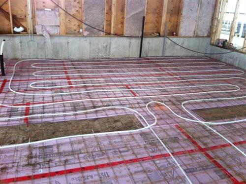 In floor heating new dairy barn
