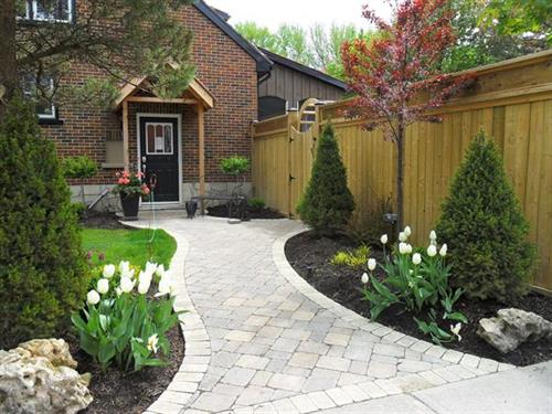 Beautiful brickwork with spring display