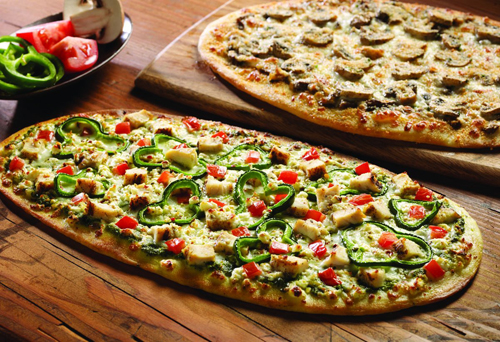 Spicy Chicken Pesto and Extreme Mushroom Flatbreads!  Our signature pizza dough rolled out flat for a delicious and crispy twist on what made us famous!