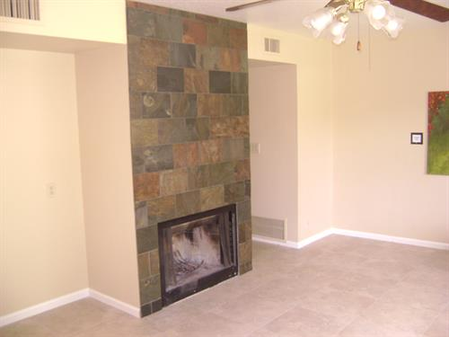 Tile flooring with Tile Fireplace