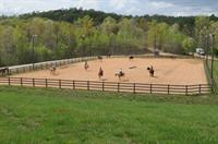 Horsemanship clinic held in the outdoor arena