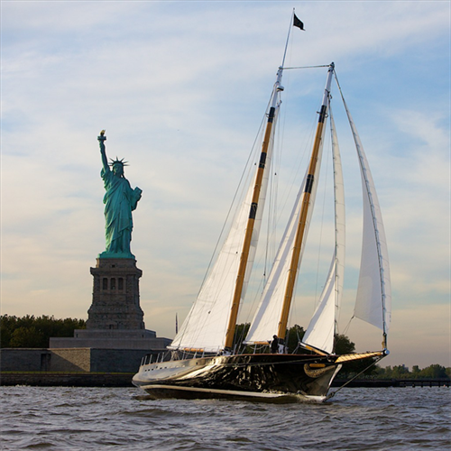 America 2.0- NYC Day sail..showing off in front of Lady Liberty!