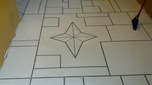 This is a picture of a design before the stain was applied.
