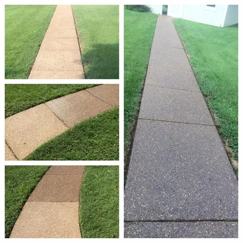 This was an existing exposed aggregate sidewalk.  We refinished it with a special aggregate sealer to bring it back to it's original shine!