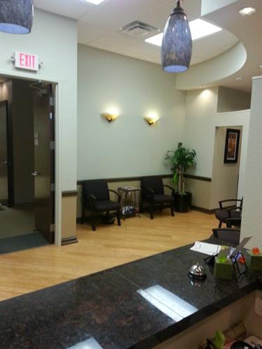 Friendly reception area wih services such as faxing, printing, and daily mail delivery.
