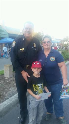 Robin has been quite busy while we have been in Tallahassee! Team District 38 out at the Zephyrhills National Night Out with ZPD Chief Shears.& her grandson Noah  2015