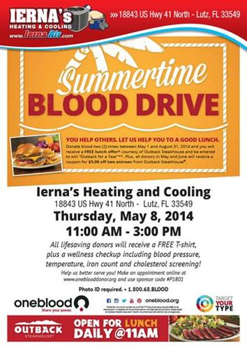 2nd Annual Blood Drive at Ierna's Heating & Cooling...May 8th, 11:00 am-3:00 pm