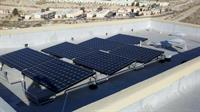 SunPower solar panels, ballasted mounting on a flat roof