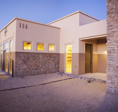 Our Tuscan exterior features stone wall details