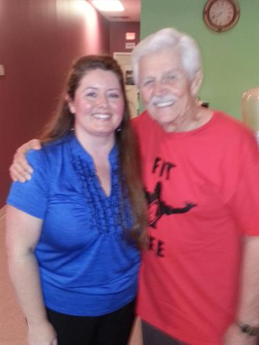 Executive Director Karen Elkins with Dick Warlock