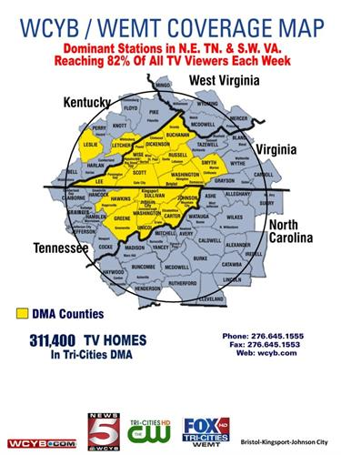 WCYB/WEMT 5 state coverage map for The CW Network!