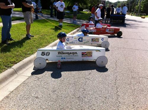 We sponsor the annual Kiwanis Soap Box Derby Race in McHenry