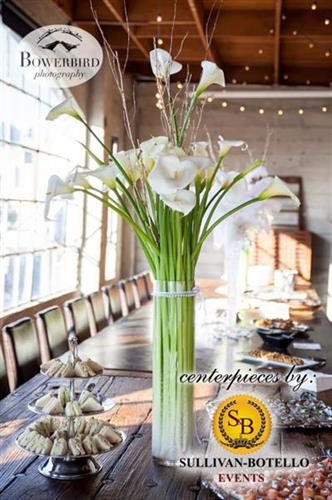 Beautiful centerpiece by Sullivan Botello Events at The Box SF