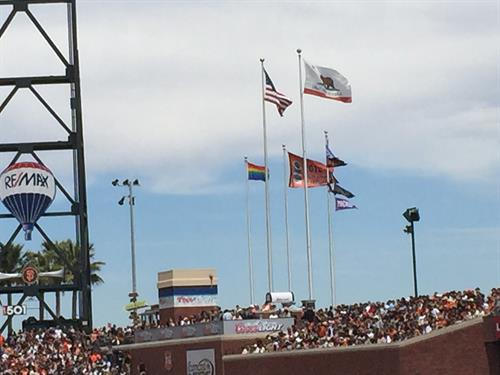 gay flag at Giants Game!