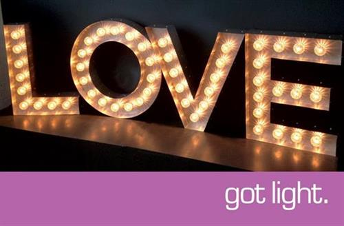 LOVE!  Marquee and Lighting Design by Got Light.