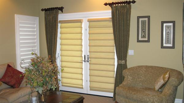 Decorative drapery panels with Hunter Douglas Vignettes