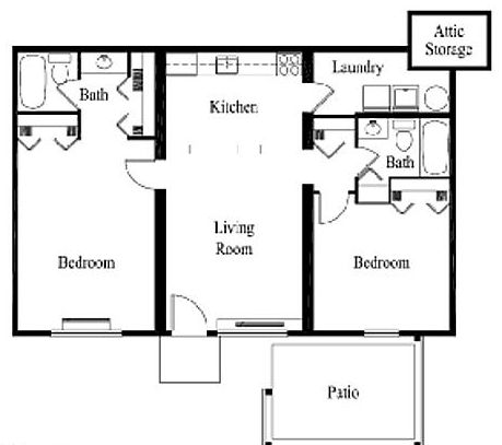 2 Bed 2 Bath 900 Sq Ft