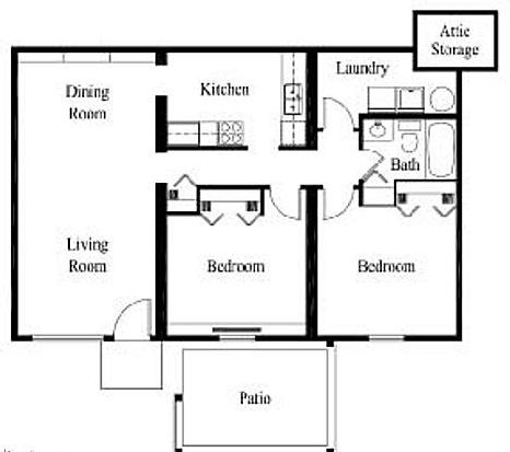 2 Bed 1 Bath 900 Sq Ft