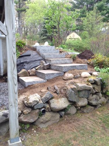 Granite Steps and Rock Wall instllation