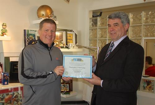 Certificate of membership presentation from New Castle County Chamber of Commerce