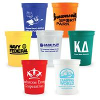 plastic stadium cups with logo imprint - many sizes/colors available