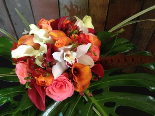 A Fall Bouquet of Lilies, Freesia and Garden Roses