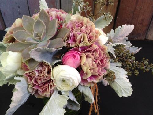 Winter Bouquet of Succulents, Carnations, Rannunculas and Dusty Miller