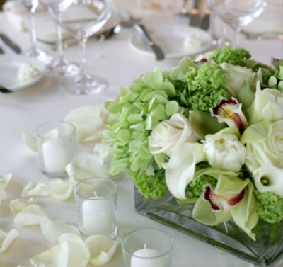 Elegant and Simple Green Orchid in a Box Table Centerpiece