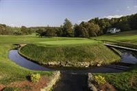 """Built in 1912, the course was designed by Golf Hall of Famer, A.W. Tillinghast. Pictured is hole number 15 -  The """"Moat"""" Hole."""