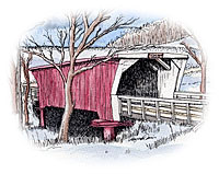 Cedar Bridge watercolor