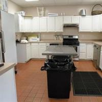 The conference center's fully equipped kitchen