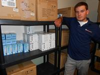 Residential auditor,Colin W., in our stock room.