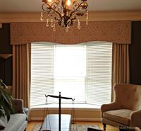 Home Office decorated with Natural Linen Striped Panels and a Jacquard Cornice Window Treatment