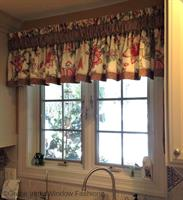 This client's kitchen was dressed up with a Ruffled Valance. Love this custom combination of Floral Fabric and Bias Plaid Banding!
